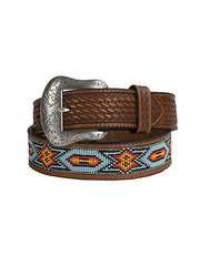 Nocona Mens Embossed Beaded Inlay Western Belt N24128 Nocona - J.C. Western® Wear