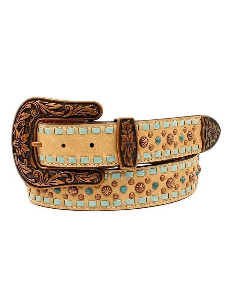 Nocona Womens Laced Edges Studs Western Leather Belt N3411137 Nocona - J.C. Western® Wear