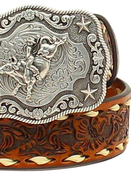 Nocona Boys Floral Embossed Bull Rider Buckle Lacing Belt N4436208 Nocona - J.C. Western® Wear