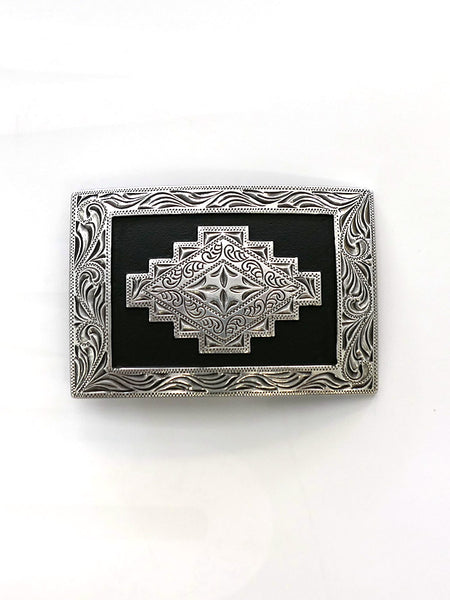 Nocona 37407 Rectangle Scroll Edge Aztec Belt Buckle Front
