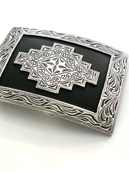 Nocona 37407 Rectangle Scroll Edge Aztec Belt Buckle Closeup