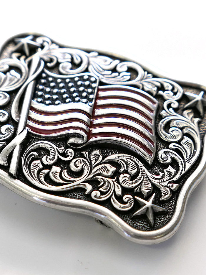 Nocona 37706 Rectangle Smooth Edge Scroll Stars USA Flag Belt Buckle Front View