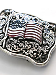 Nocona 37706 Rectangle Smooth Edge Scroll Stars USA Flag Belt Buckle Close up
