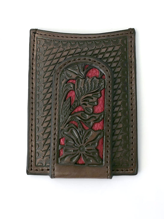 Nocona N5426504 Mens Red Floral Inlay Magnet Western Money Clip Front