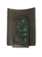 Nocona Mens Blue Floral Inlay Magnet Money Clip N5426527 Front View