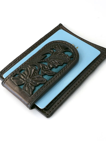 Nocona N5426527 Mens Blue Floral Inlay Magnet Money Clip Strong Magnet