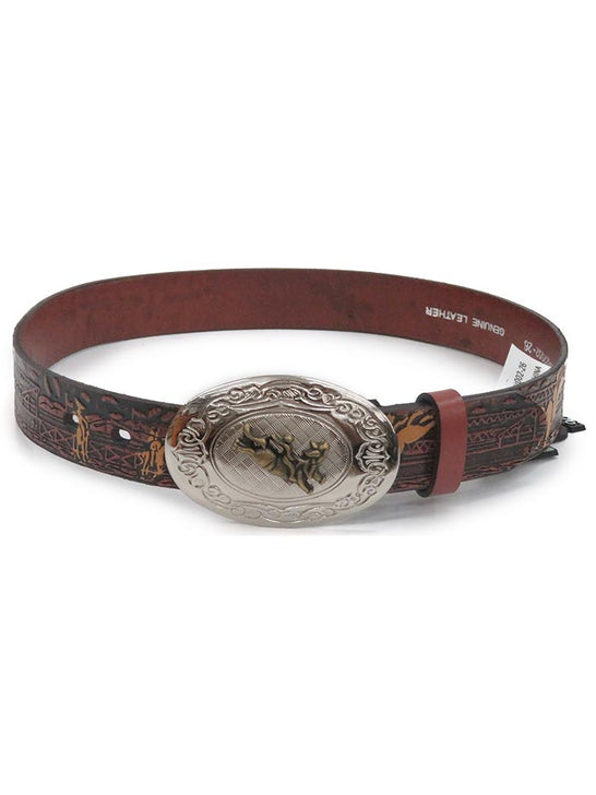 Nocona Kids Rodeo Printed Brown Leather Belt N4422002 at JC Western Wear, Port St. Lucie, Florida Area
