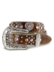Nocona Girl's Brown Strap w/ Pink Stones And Heart Conchos Belt N4425202 Nocona - J.C. Western® Wear