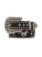 Nocona Western Belt Girls Kids Leather Horse Crystals N4427601 Black Belt