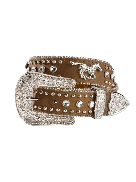 Nocona Western Belt Girls Kids Leather Horse Crystals N4427644 Brown Belt
