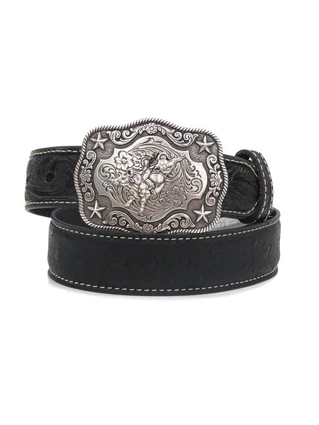 Nocona Kids Ostrich Strap with Embossed Tab Western Belt N4440001 Front at JC Western
