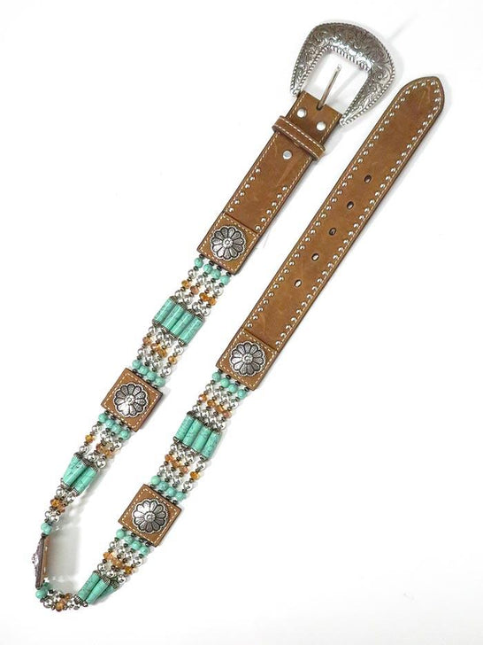 Nocona N3412744 Womens Leather and Bead Western Belt Brown