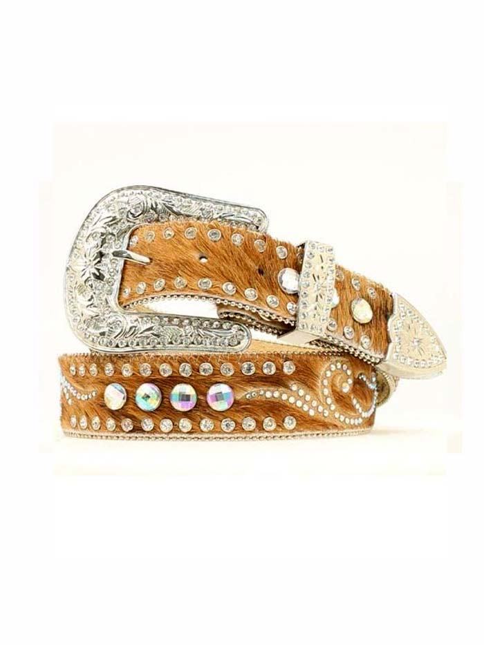 Nocona Womens Black Calf Hair w/ Clear Stone Conchos Belt N34836 Nocona - J.C. Western® Wear