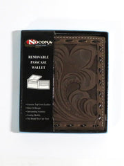 Nocona Mens Cowboy Floral Tooled Leather Overlay Wallet N5418447 in box