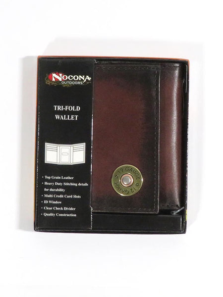 Nocona Mens 12 Gauge Outdoor Tri-Fold Leather Wallet N5429902 in box
