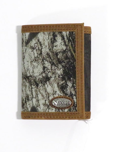 Nocona Mens Camo Leather Outdoor Tri-Fold Wallet N54846222 Front