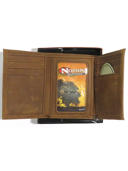 Nocona Mens Camo Leather Outdoor Tri-Fold Wallet N54846222 inside