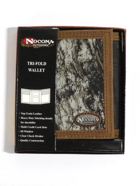 Nocona Mens Camo Leather Outdoor Tri-Fold Wallet N54846222 in box 701340469297