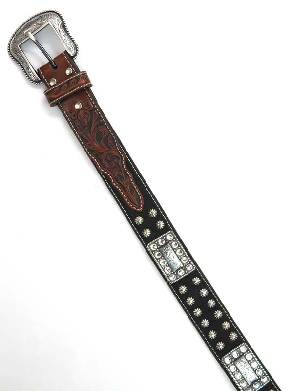 Nocona Mens LARGE SIZE Rhinestones Hair Black Brown Belt N2498267