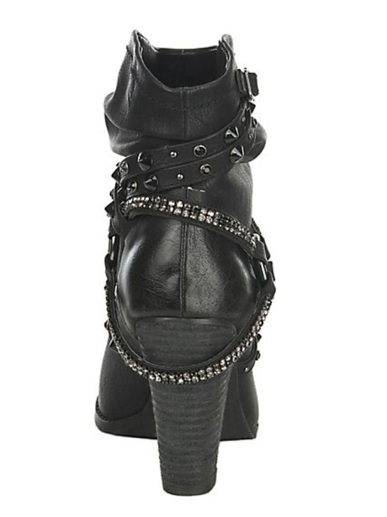 Not Rated Womens Fashion Sierra Bling Strap Black Booties NRLB0374 Not Rated - J.C. Western® Wear