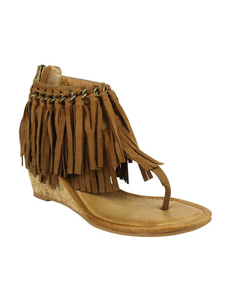 Not Rated Women's Sybil Tan Fringe Wedge Sandal NRWE0091-251 JC WESTERN WEAR Florida