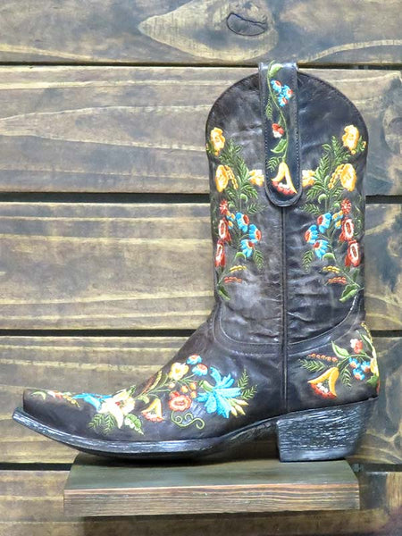 Womens Old Gringo Jasmine Embroidery Pull On Boots L1286-12 Chocolate