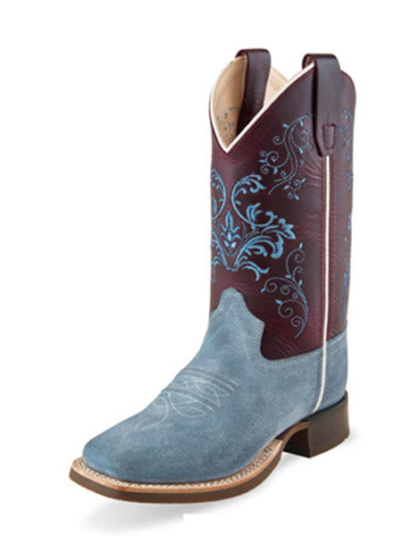 Old West BSC1908 Kids Turquoise Stitch Square Toe Western Boots Black
