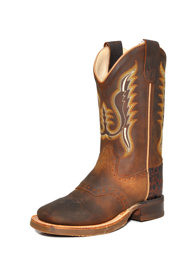Kid's Old West Rubber Corded Distress Brown Cowboy Boots BSC1845 Old West - J.C. Western® Wear