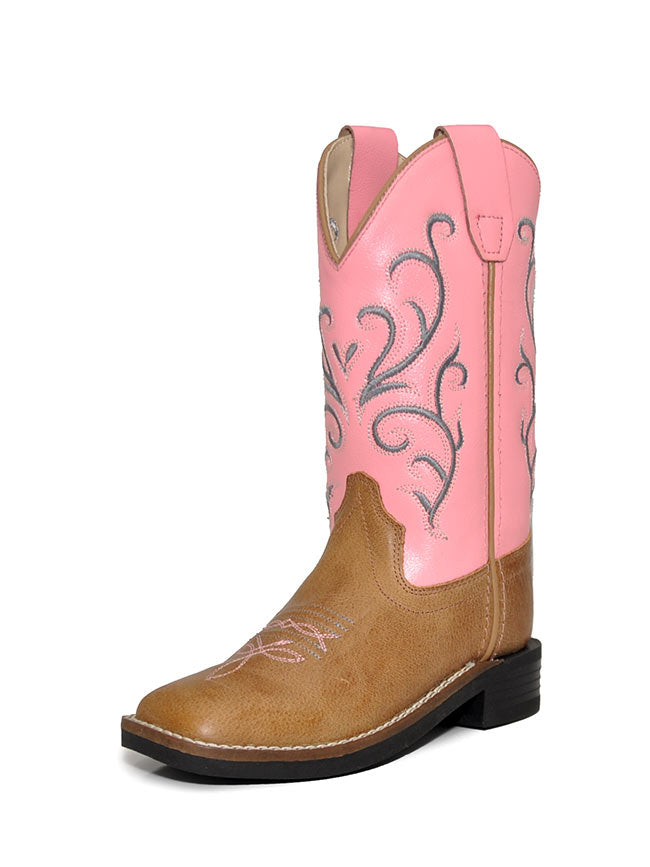 Girls Old West Pink/Tan Leather Western Boots BSC1869