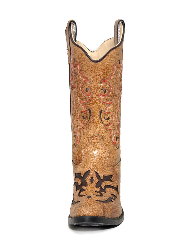 Girls Old West Inlay Round Toe Tan Cowboy Boots VJ9113