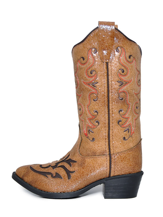 Old West VJ9113 Girls Inlay Round Toe Cowgirl Boots Tan