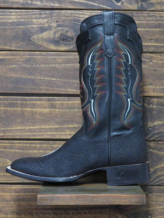Outlaw Men's Black Stingray Square Toe Western Boots 60111