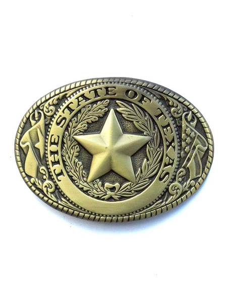 Western Edge Antique Brass State of Texas Belt Buckle