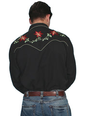 Mens Scully Black Floral Embroidery Western Snap Shirt P-633-BLK Back View