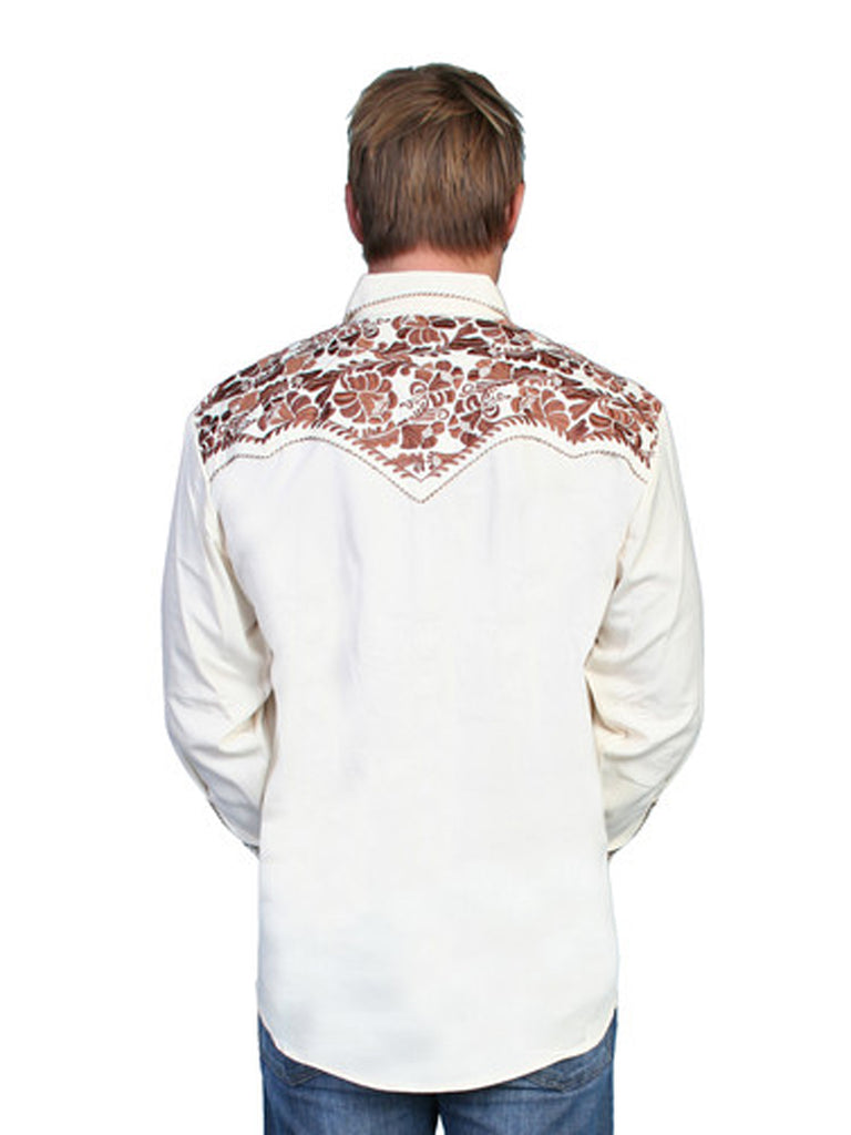 Scully Natural Poly Blend Floral Tooled Stitch Western Shirt P-634 Natural