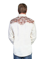 Scully Natural Poly Blend Floral Tooled Stitch Western Shirt P-634N Scully - J.C. Western® Wear