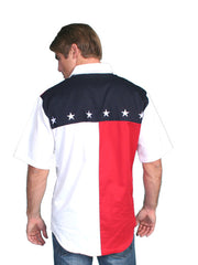 Scully White American Flag Western Shirt P-756SS Scully - J.C. Western® Wear