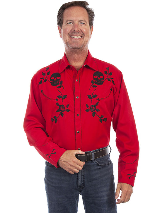 Scully P-771 Mens Skull Roses Embroidery Long Sleeve Shirt Crimson Front
