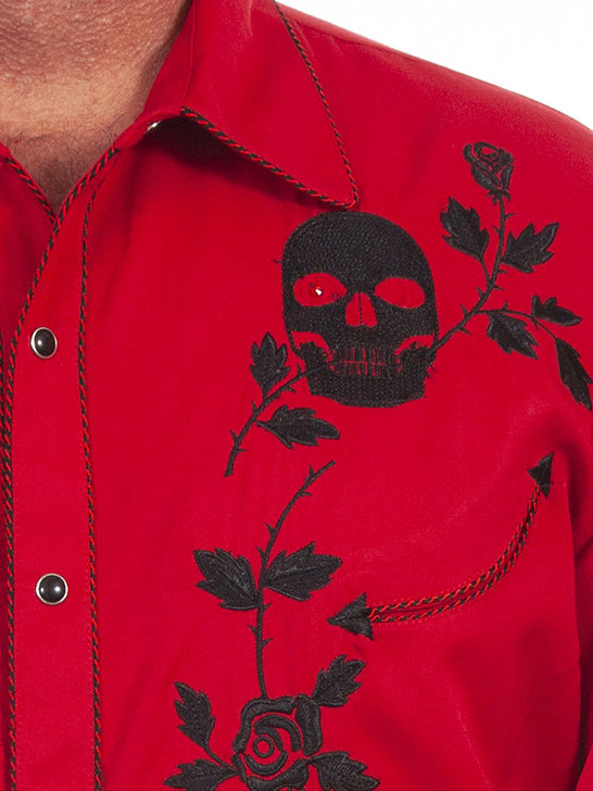 Scully P-771 Mens Skull Roses Embroidery Long Sleeve Shirt Crimson Close up