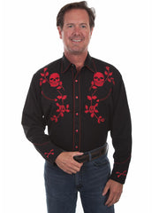 Scully P-771 Mens Skull Roses Embroidery Long Sleeve Shirt Red