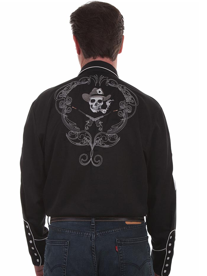 Scully P-864 Mens Smoking Skull and Cards LS Western Shirts Black Front