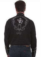 Scully P-864 Mens Smoking Skull and Cards LS Western Shirts Black Back