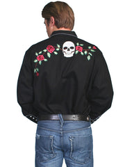 P-771-BLK Scully P-771 Mens Polyester Skull Rosses Western Shirt Black