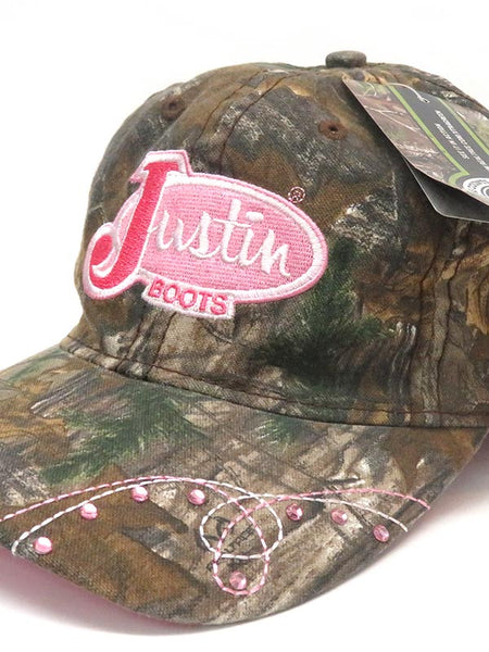 Justin PDG73493 All Over Pink Logo Velcro Cap Camo