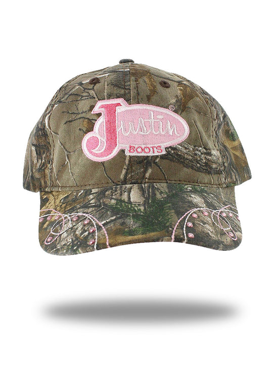 Justin PDG-73493 All Over Pink Logo Velcro Cap Camo Justin Hats - J.C. Western® Wear
