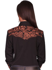 Scully PL-654 Womens Polyester L/S Floral Stitch Western Shirt Black  Back