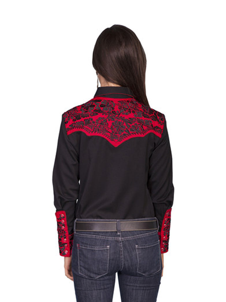 Scully Western Womens Crimson Polyester L/S Floral Stitch Western Shirt PL-654-CRM Scully - J.C. Western® Wear