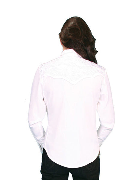 Scully Western Womens White Polyester L/S Floral Stitch Western Shirt Scully - J.C. Western® Wear