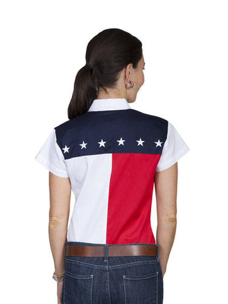 Scully White USA Flag Western Shirt PL-756SS Scully - J.C. Western® Wear