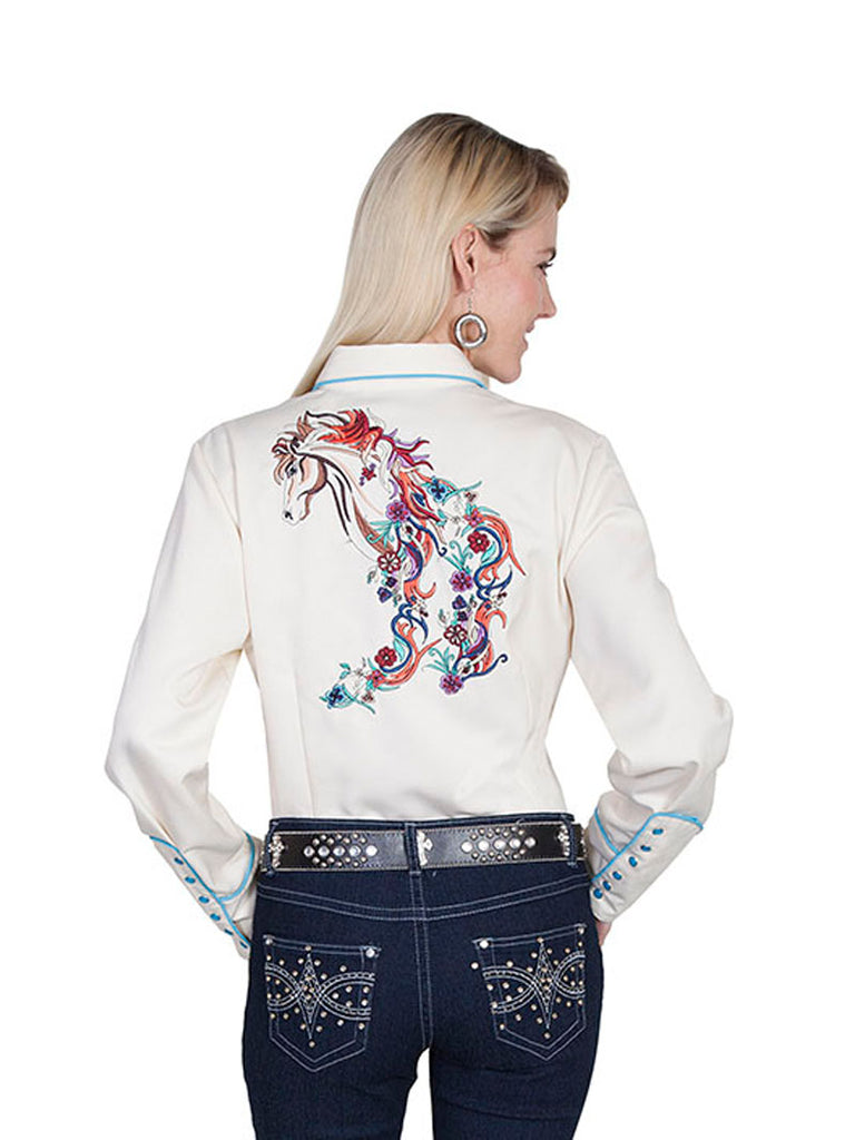 Scully PL-856C Womens Embroidered Horse LS Western Shirt Cream